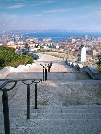 garde: Notre-Dame de la Garde basilica, Central Marseilles, France  Long Climb To Church
