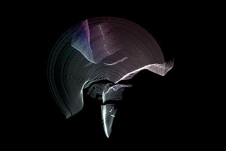topology: man doing capoeira movements in LED Strip Light Stock Photo