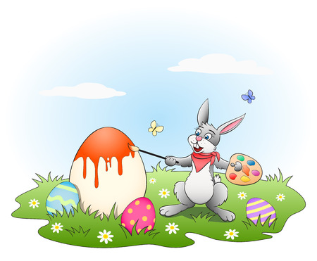 Easter bunny painting colored eggs