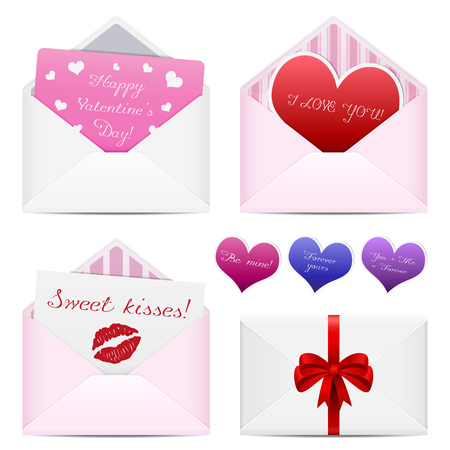 Valentines day love mail envelopes
