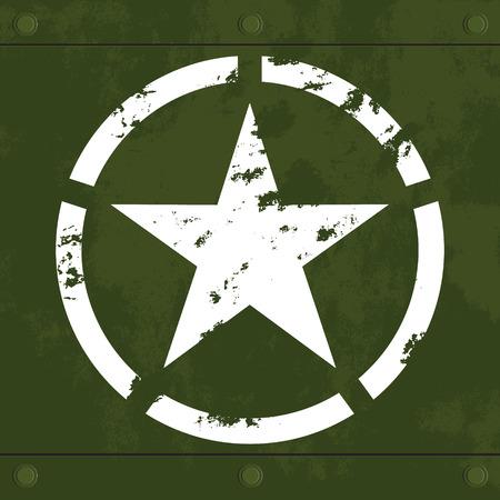 White star on green metal