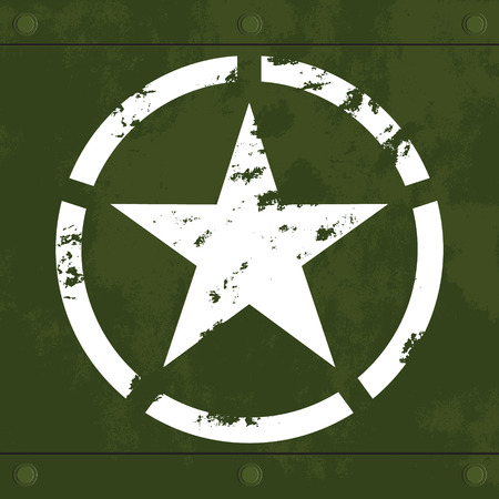 White star on green metal Vector