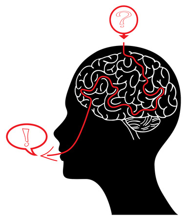 Head silhouette with brain maze solving a task