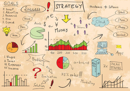 Bussiness marketing strategy scribbles, EPS8