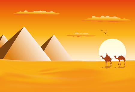 Caravana de camellos en las pirámides de Giza Ilustración de vector