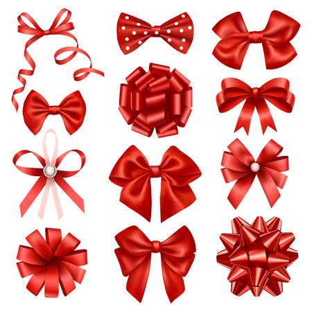 Noeuds de rubans rouges Banque d'images - 27483529