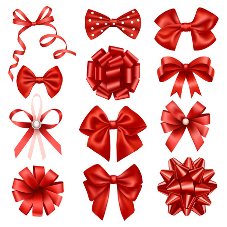 silk ribbon: Red ribbon bows