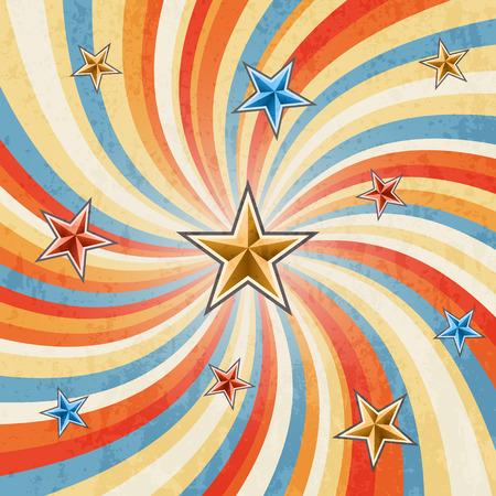 Retro twirl background with stars Çizim
