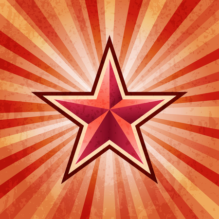 Red star burst army background Çizim