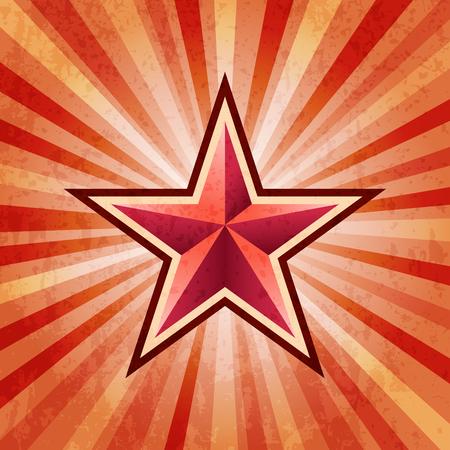 Red star burst army background Illustration