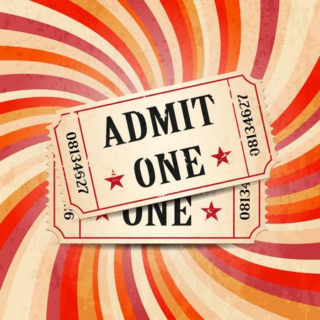 Tickets on vintage twirl background