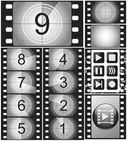 leaders: Movie countdown, vintage 35mm silent film, 135 full frame film, set of icons