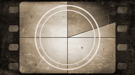 movies: Grunge film frame background with vintage movie countdown Stock Photo