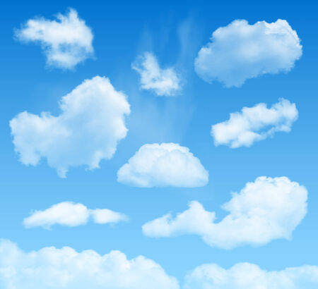 puffy: clouds set on blue sky background Illustration