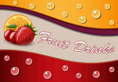 Bubble soda abstract background with strawberry, orange, cherry Illustration