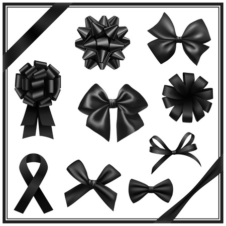 hair bow: Black ribbon bows