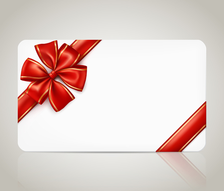 Gift card with a red ribbon bow 向量圖像