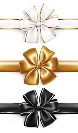 Elegant golden, white and black ribbon bow