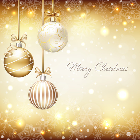 Christmas background with baubles and snowflakes Illustration