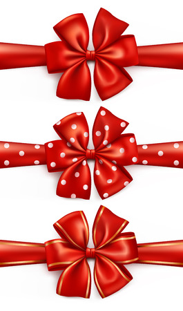 Red ribbon gift bows with polka dots and golden rims