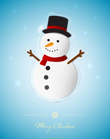 Snowman on transparent glass ornament, Christmas greeting card.