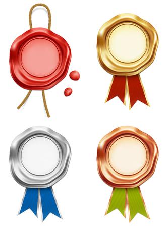 Wax stamp seal award on white background. Illustration