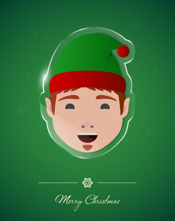 Santa helper on transparent glass ornament, Christmas greeting card. Illustration