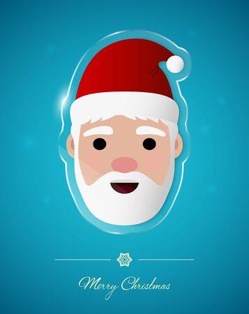 Santa on transparent glass ornament, Christmas greeting card. Illustration