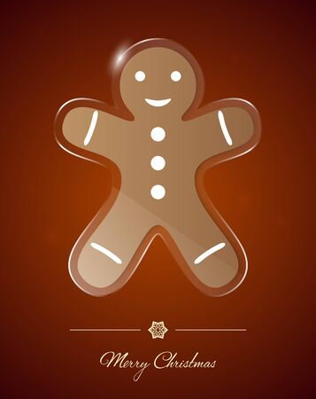 Gingerbread man on transparent glass ornament, Christmas greeting card.