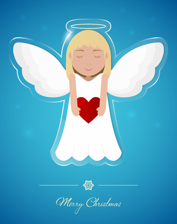 Angel on transparent glass ornament, Christmas greeting card.