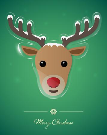 Reindeer on transparent glass ornament, Christmas greeting card.