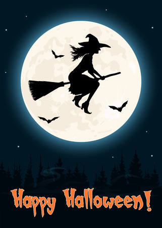 Witch flying on a broom, Halloween greetings card Illustration