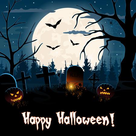 Spooky graveyard Halloween greetings card