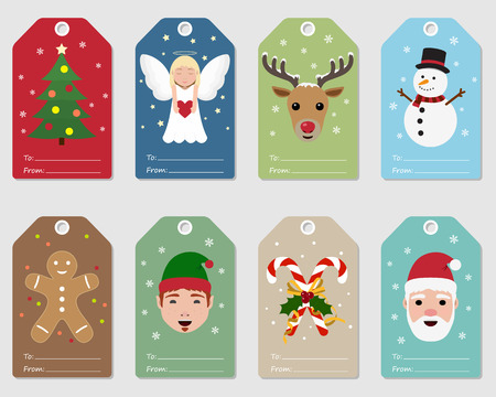 Christmas gift tags with festive illustrations