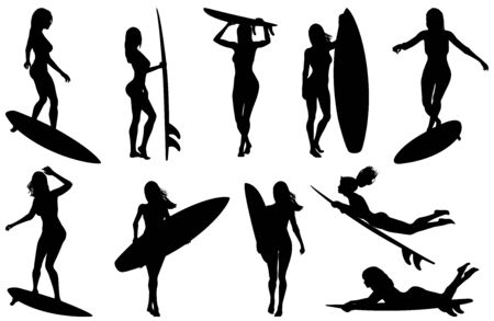 Female surfer and surfboard isolated silhouette poses