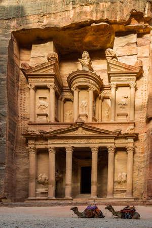 Camel and Treasury at Petra, Jordan photo