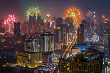New Year Firework and Bangkok Skyscraper