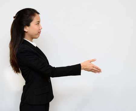 Thai business woman handshake photo
