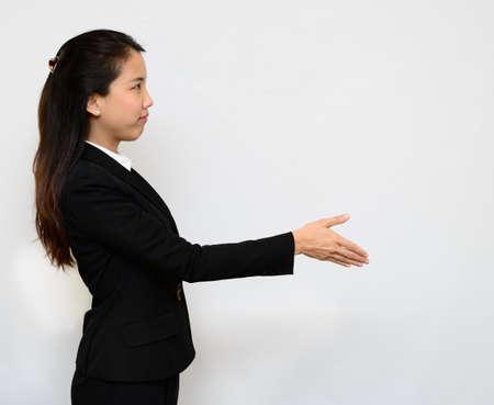 Thai business woman handshake photo