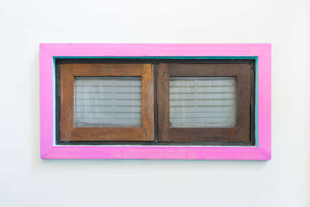 2 Pink windows on a white wall photo