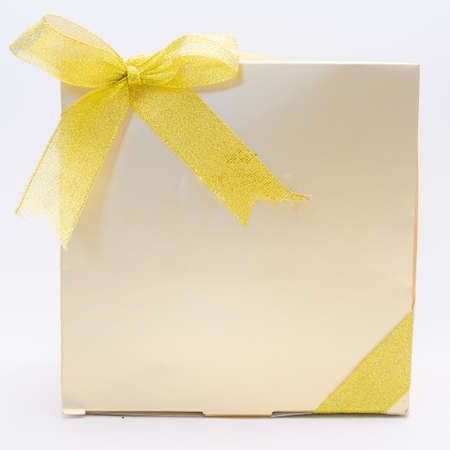 gold gift box: Gold Gift Box Stock Photo