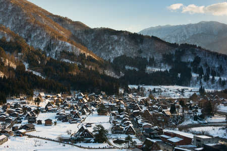 Shirakawa-go in winter in the evening Banco de Imagens