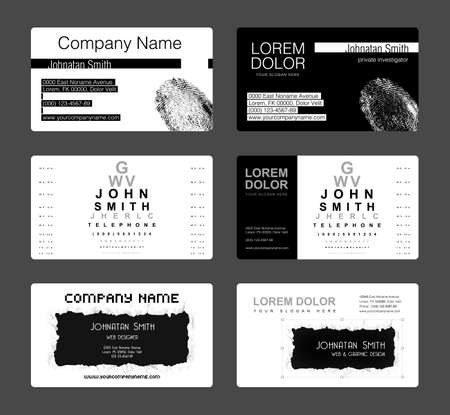 private investigator: Set of 6 detailed business card template