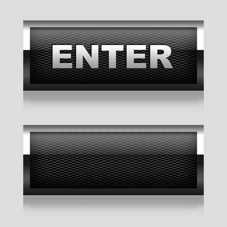 Enter button and blank button with carbon texture Stock Photo