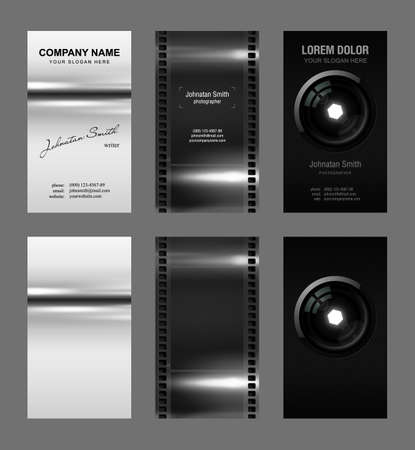 Set of 3 detailed business card template (plus 3 blank template) photo