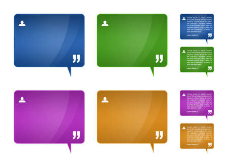 Set of 4 detailed testimonials block for web template (plus 4 blank testimonials blocks)