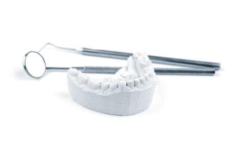 Gypsum dental mold and dental tools on a white background. Selective focus. Stock Photo