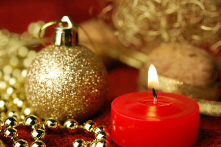 Christmas decoration with christmas ball and candlelight  Stock Photo - 11293980