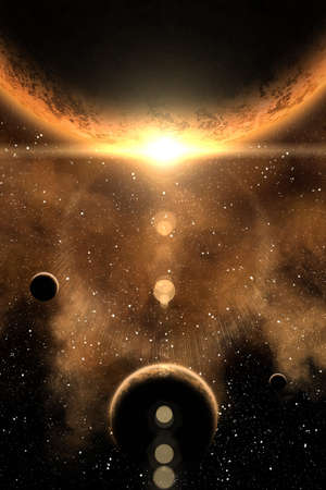 Nebula and four planet on the foreground Stock Photo - 11769911