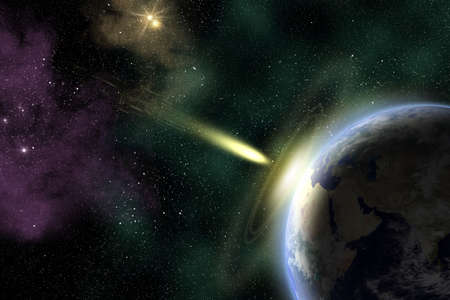 Earth in space with a flying asteroid  Asteroid impact  Armageddon  elements furnished Stock Photo - 15586584
